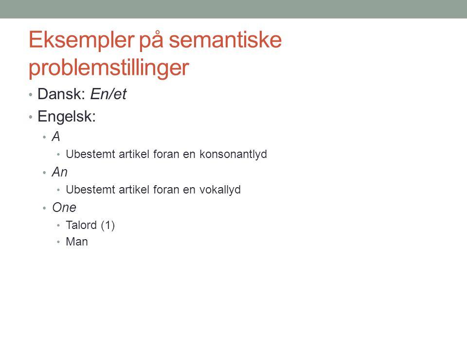 Eksempler på semantiske problemstillinger