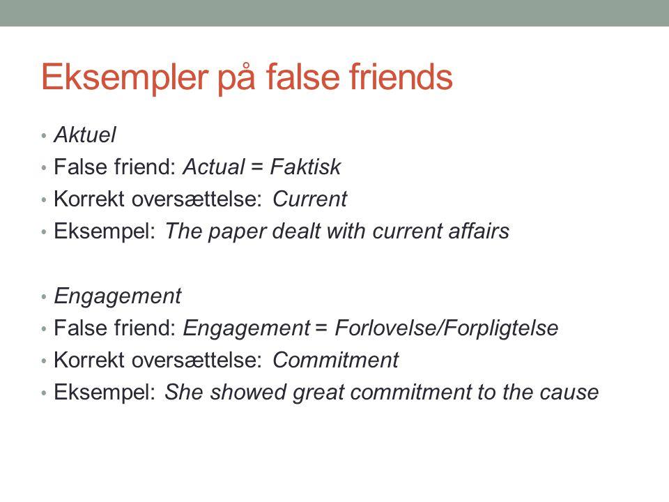 Eksempler på false friends