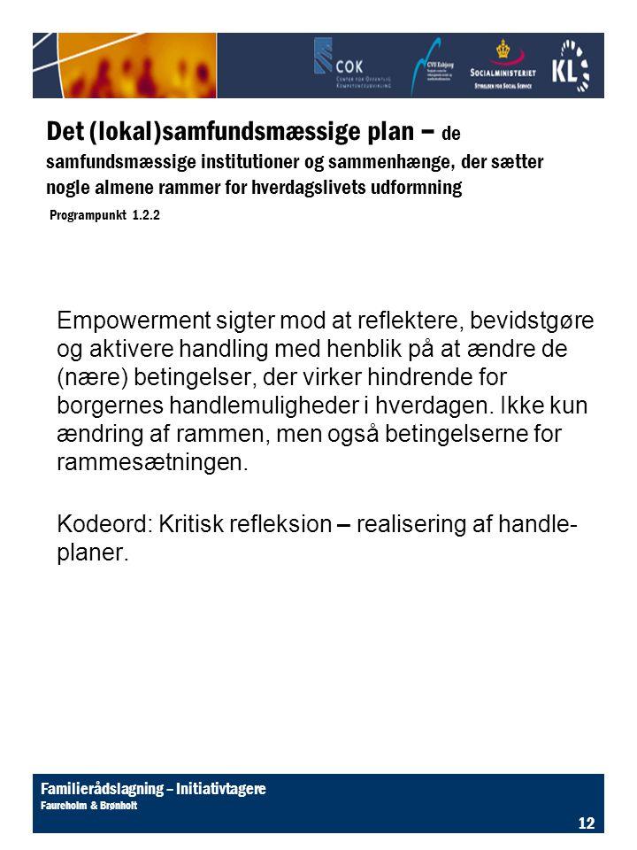 Det (lokal)samfundsmæssige plan – de samfundsmæssige institutioner og sammenhænge, der sætter nogle almene rammer for hverdagslivets udformning Programpunkt 1.2.2