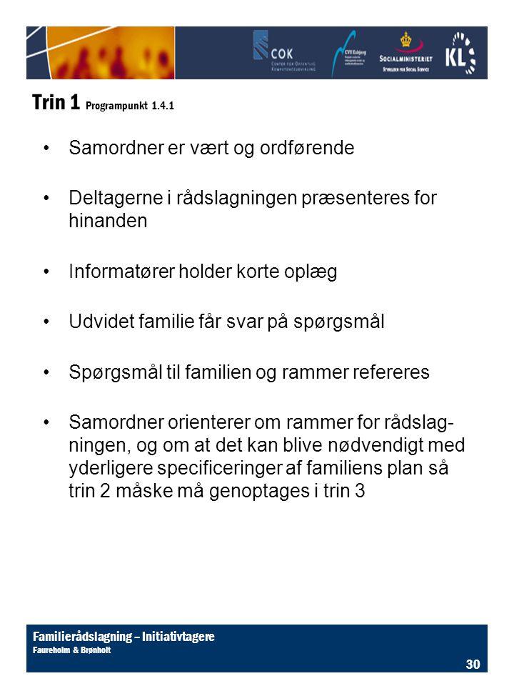 Trin 1 Programpunkt 1.4.1 Samordner er vært og ordførende