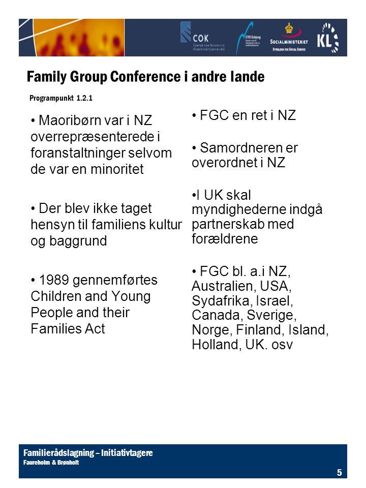 Family Group Conference i andre lande Programpunkt 1.2.1