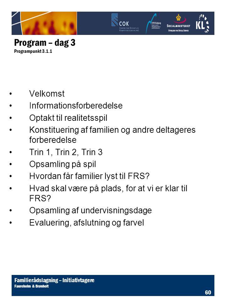 Program – dag 3 Programpunkt 3.1.1