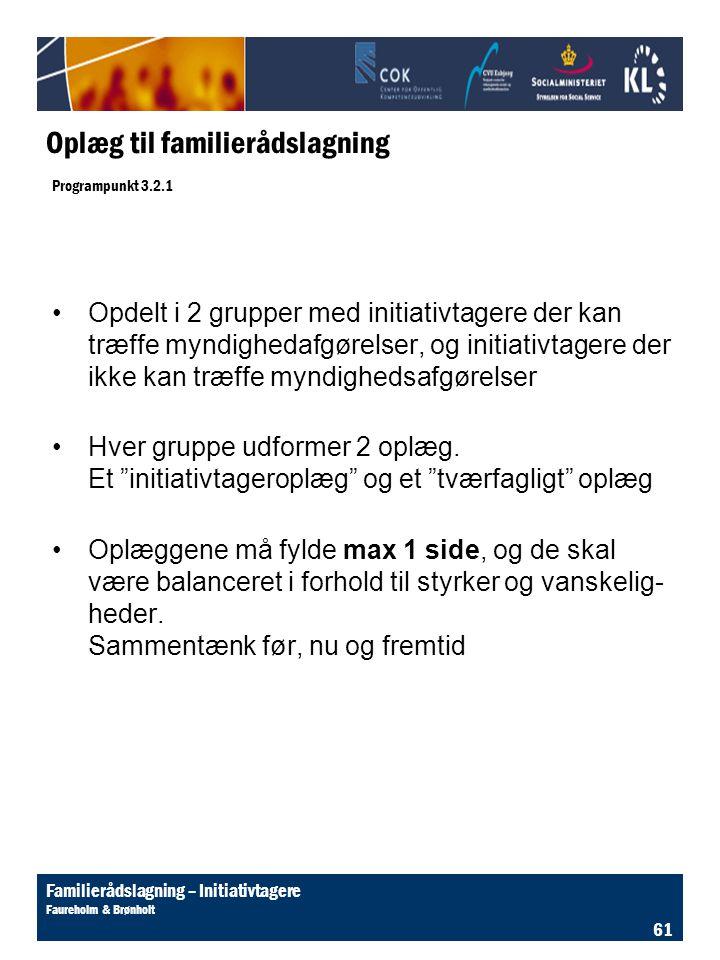 Oplæg til familierådslagning Programpunkt 3.2.1