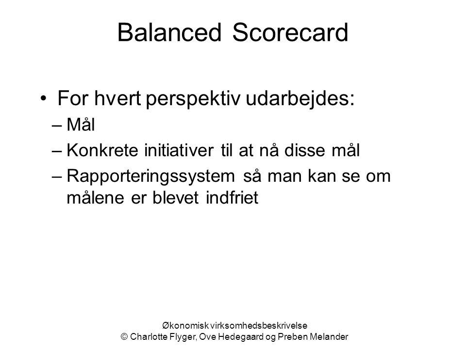 Balanced Scorecard For hvert perspektiv udarbejdes: Mål