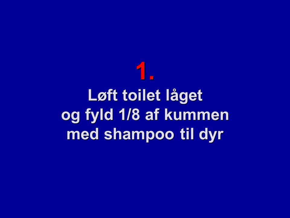 1. Løft toilet låget og fyld 1/8 af kummen med shampoo til dyr