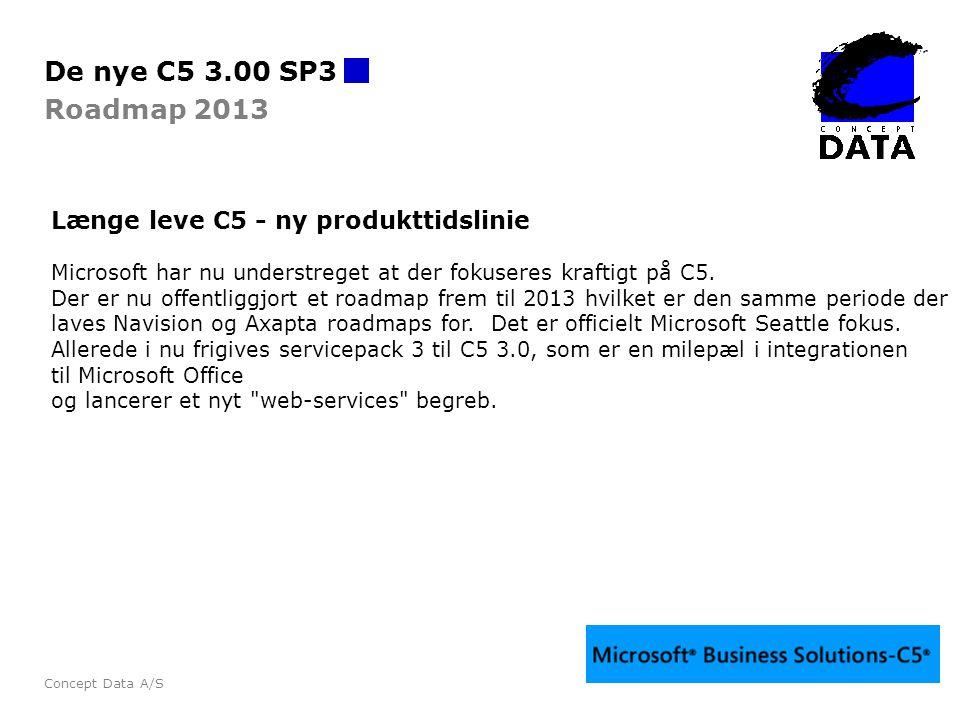De nye C5 3.00 SP3 Roadmap 2013 Længe leve C5 - ny produkttidslinie