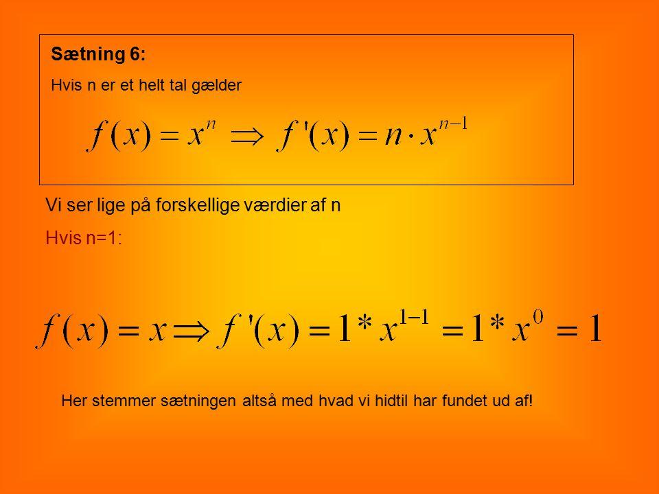Vi ser lige på forskellige værdier af n Hvis n=1: