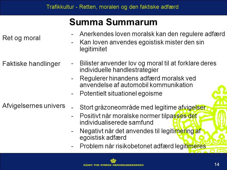 Summa Summarum Ret og moral Faktiske handlinger Afvigelsernes univers