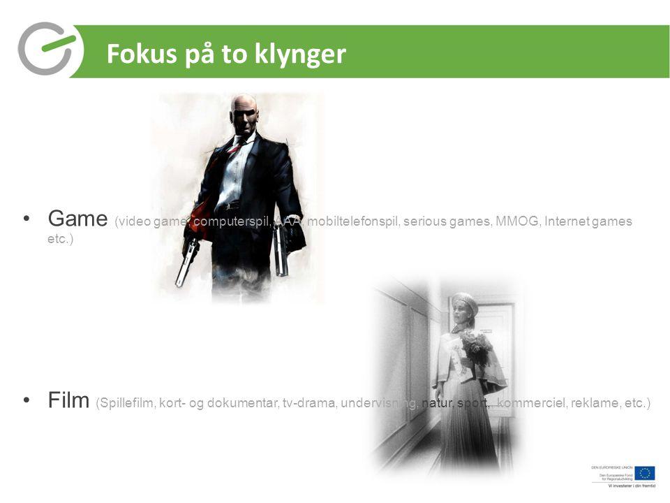 Fokus på to klynger Game (video game, computerspil, AAA, mobiltelefonspil, serious games, MMOG, Internet games etc.)