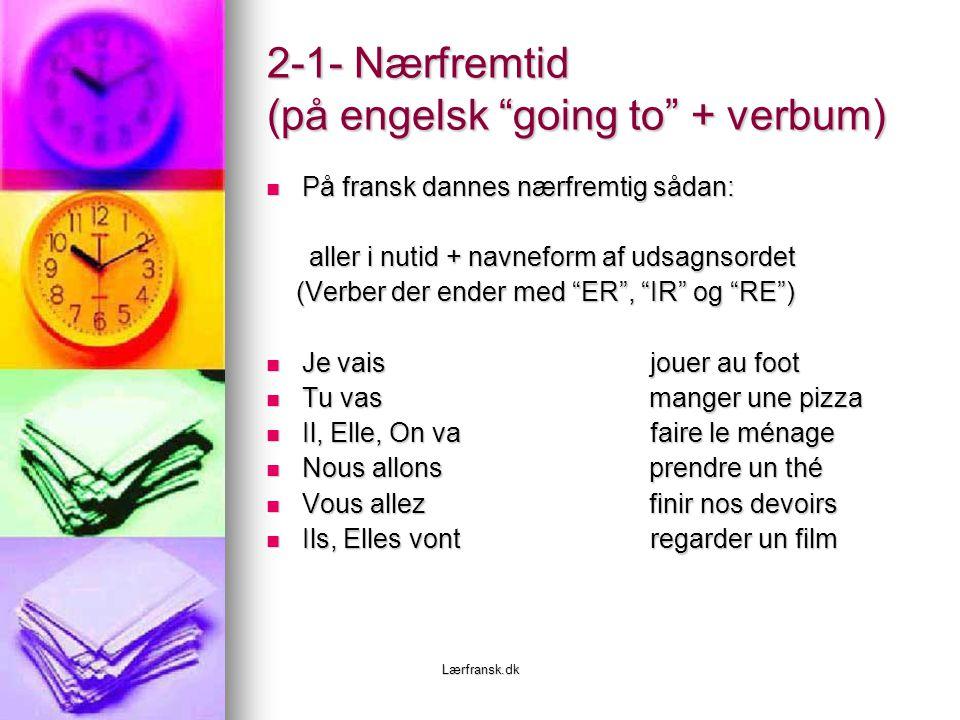2-1- Nærfremtid (på engelsk going to + verbum)