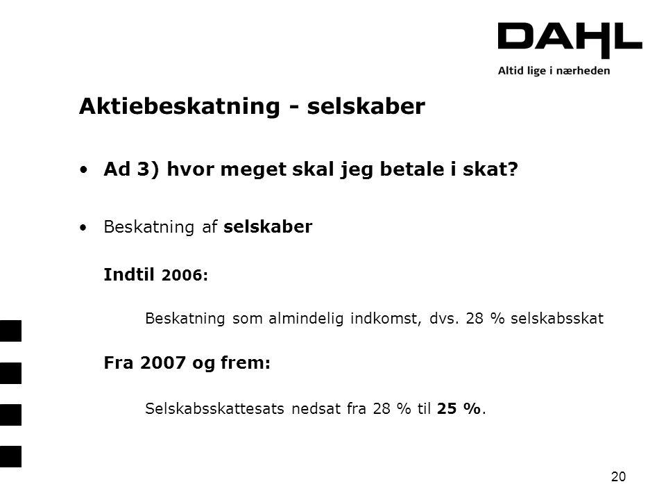 Aktiebeskatning - selskaber