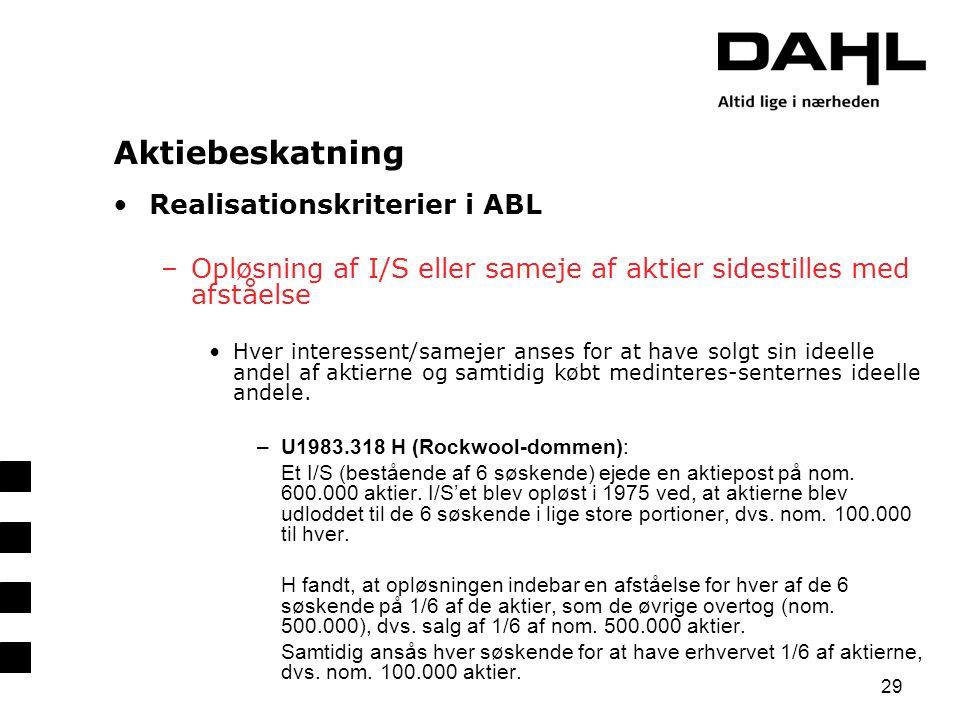 Aktiebeskatning Realisationskriterier i ABL