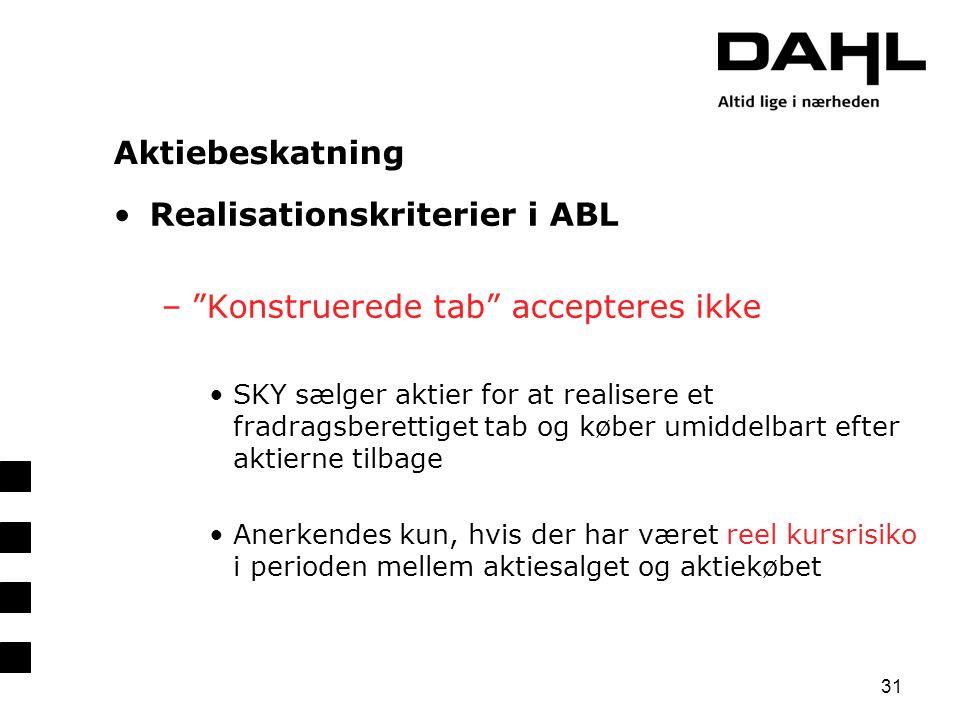 Realisationskriterier i ABL Konstruerede tab accepteres ikke