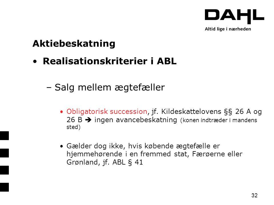 Realisationskriterier i ABL Salg mellem ægtefæller