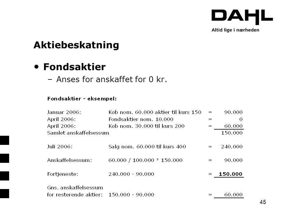 Aktiebeskatning Fondsaktier Anses for anskaffet for 0 kr. 45
