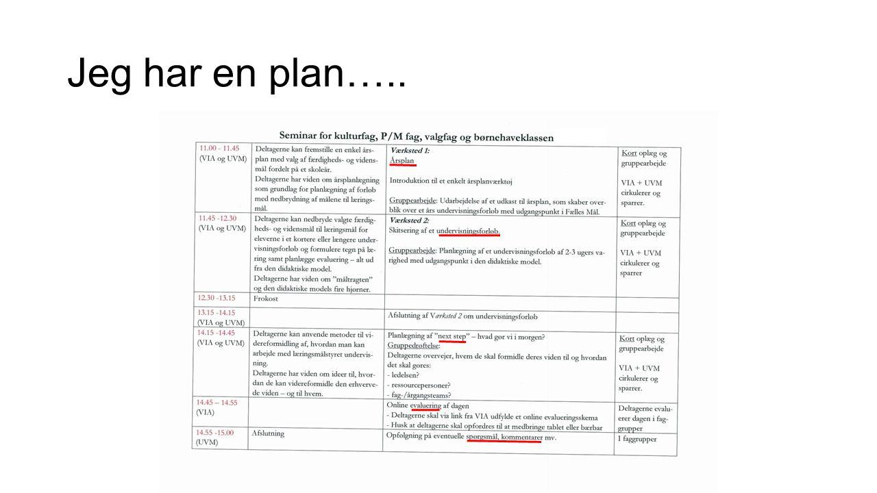 Jeg har en plan…..