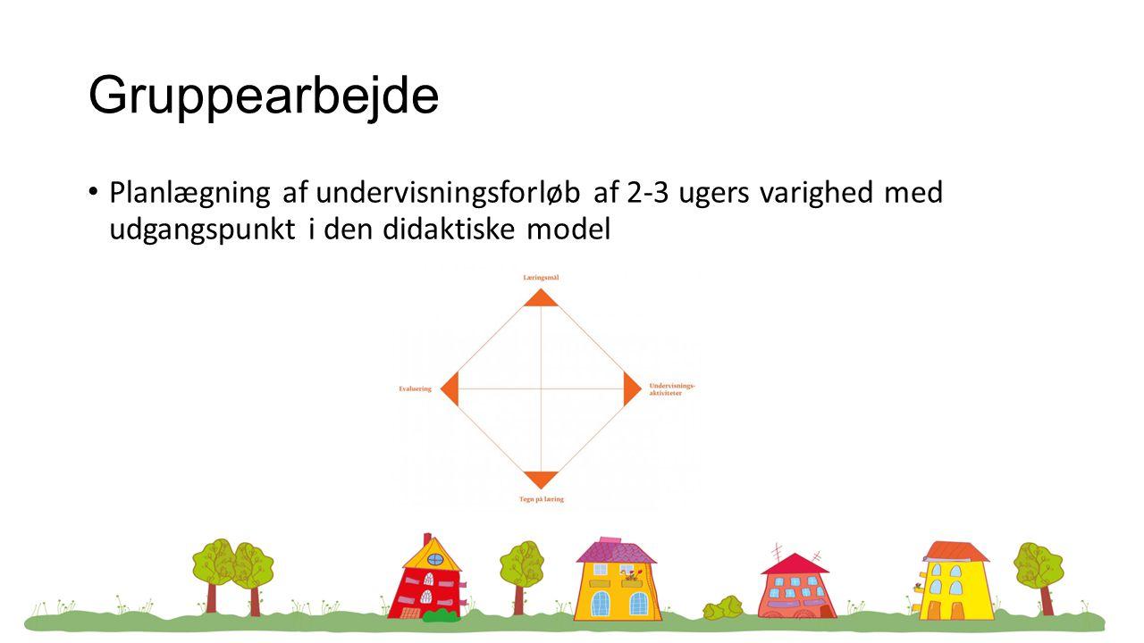 Gruppearbejde Planlægning af undervisningsforløb af 2-3 ugers varighed med udgangspunkt i den didaktiske model.