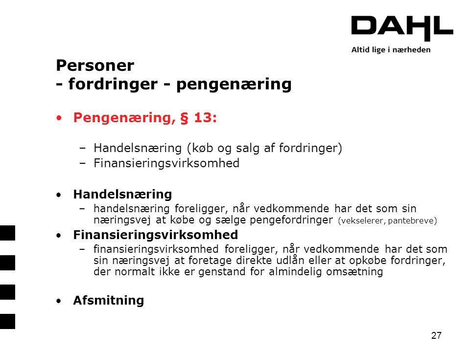 Personer - fordringer - pengenæring