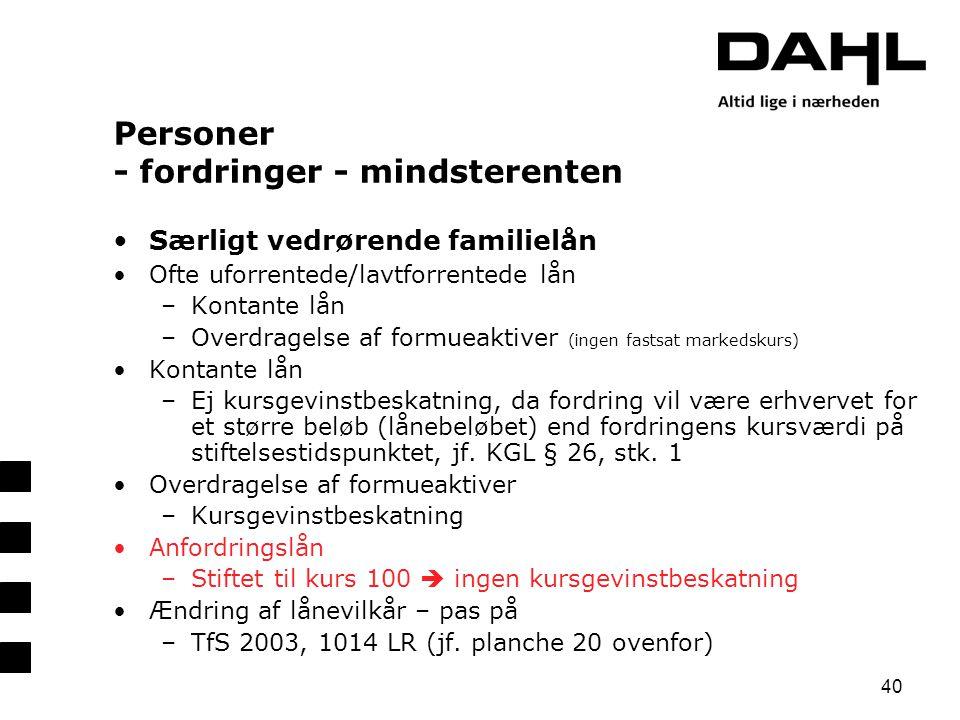 Personer - fordringer - mindsterenten
