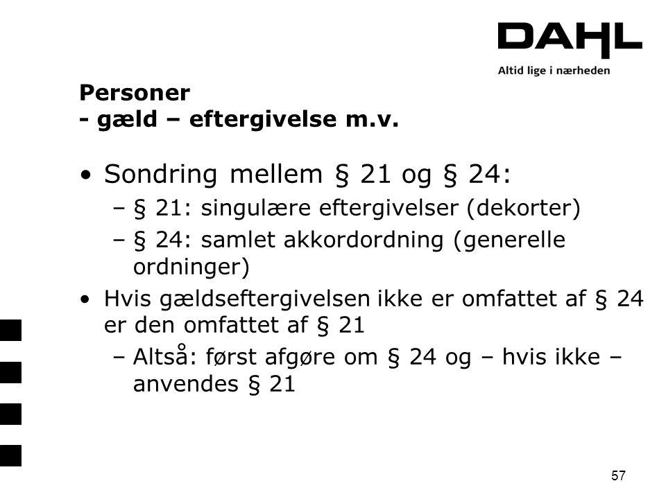 Personer - gæld – eftergivelse m.v.