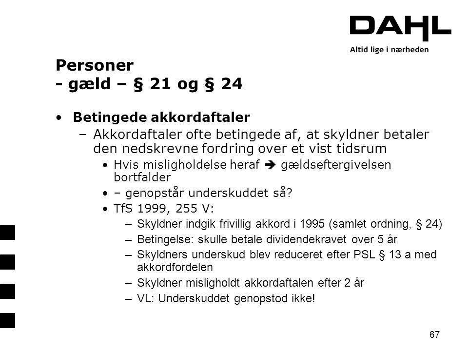 Personer - gæld – § 21 og § 24 Betingede akkordaftaler