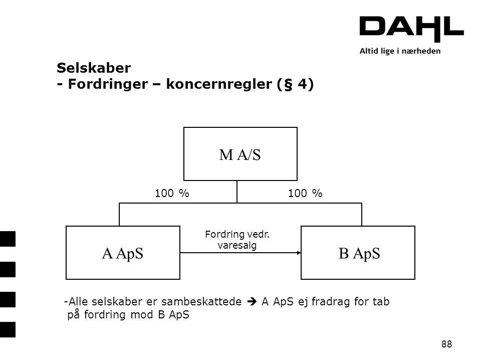 Selskaber - Fordringer – koncernregler (§ 4)