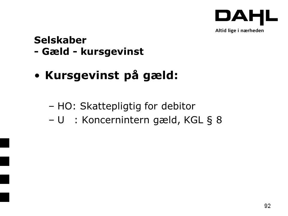 Selskaber - Gæld - kursgevinst