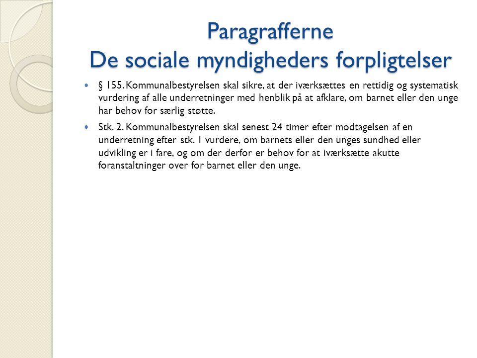Paragrafferne De sociale myndigheders forpligtelser