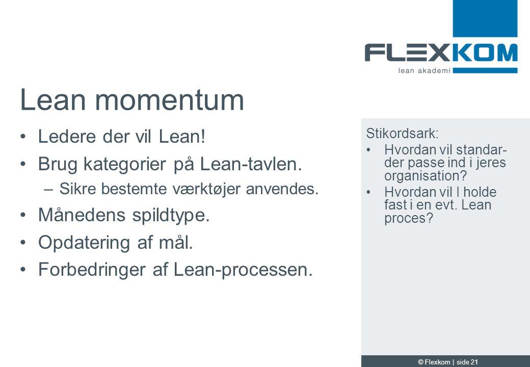 Lean momentum Ledere der vil Lean! Brug kategorier på Lean-tavlen.
