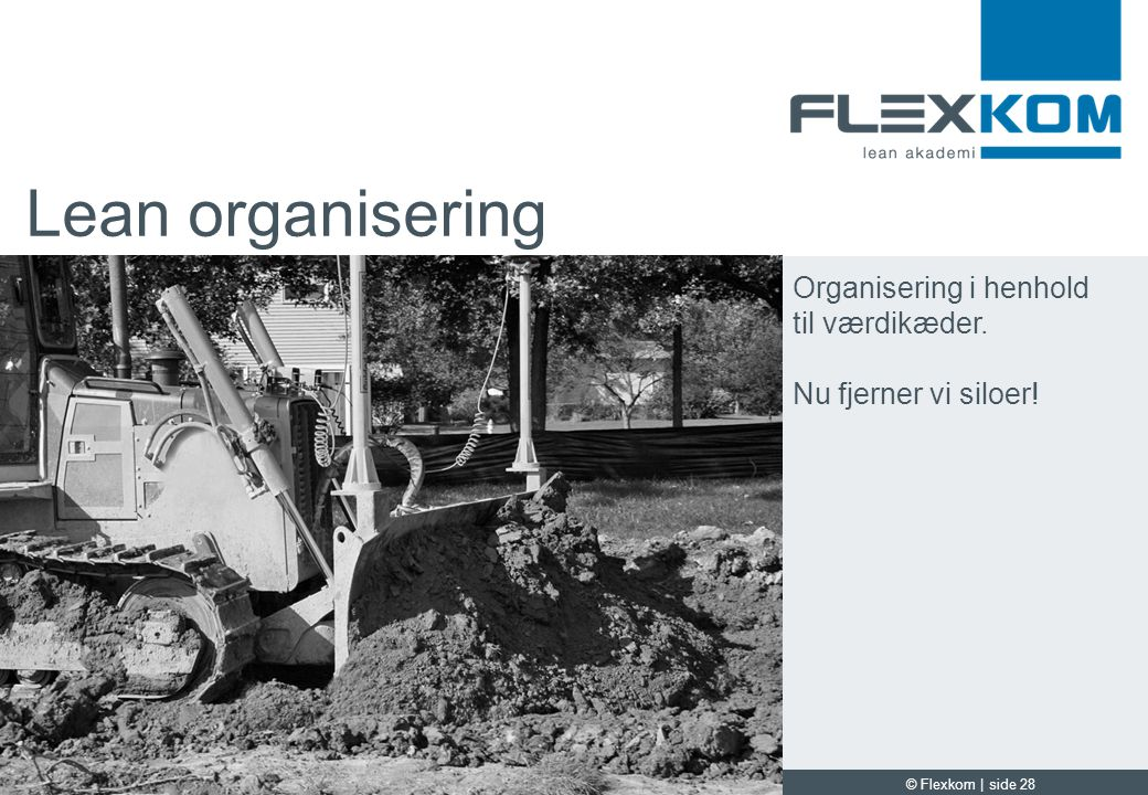 Lean organisering Organisering i henhold til værdikæder.