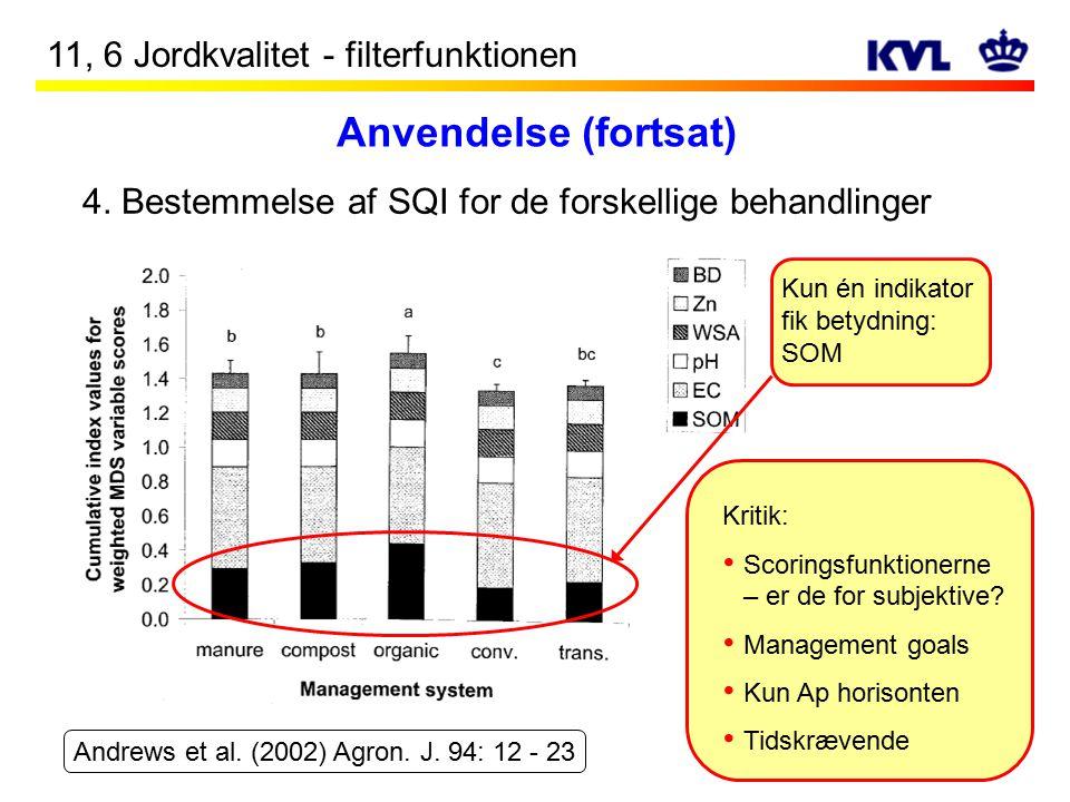 Anvendelse (fortsat) 11, 6 Jordkvalitet - filterfunktionen