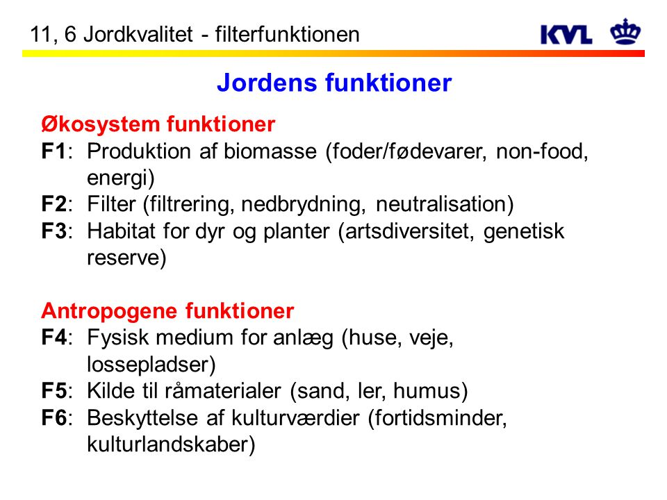 Jordens funktioner 11, 6 Jordkvalitet - filterfunktionen
