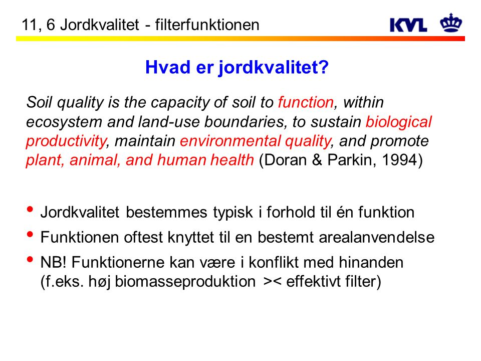 Hvad er jordkvalitet 11, 6 Jordkvalitet - filterfunktionen
