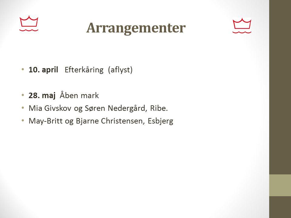 Arrangementer 10. april Efterkåring (aflyst) 28. maj Åben mark