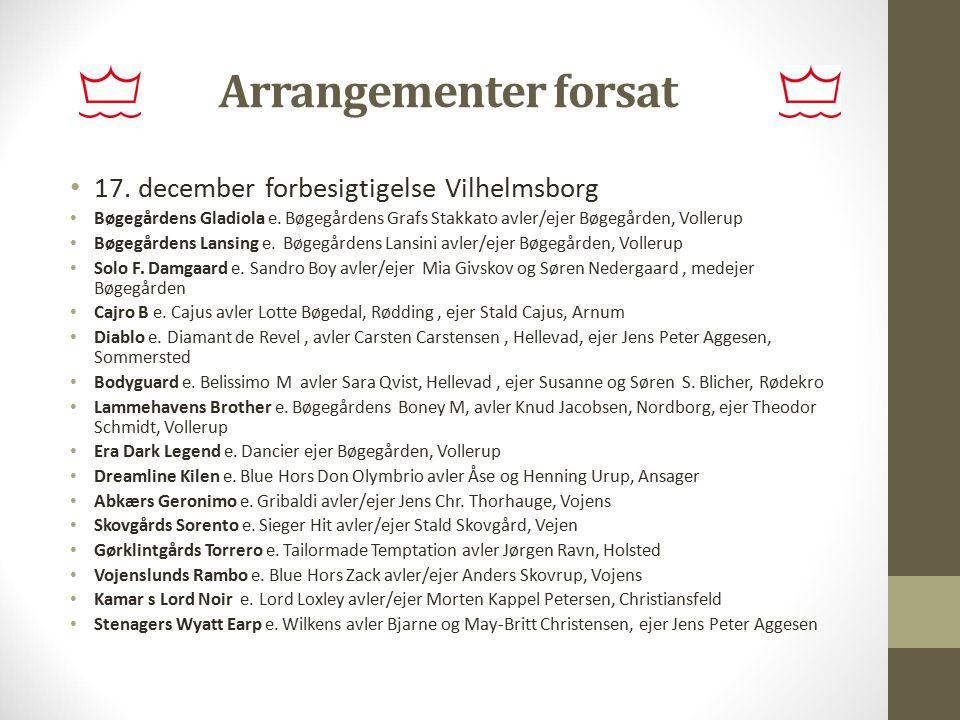 Arrangementer forsat 17. december forbesigtigelse Vilhelmsborg