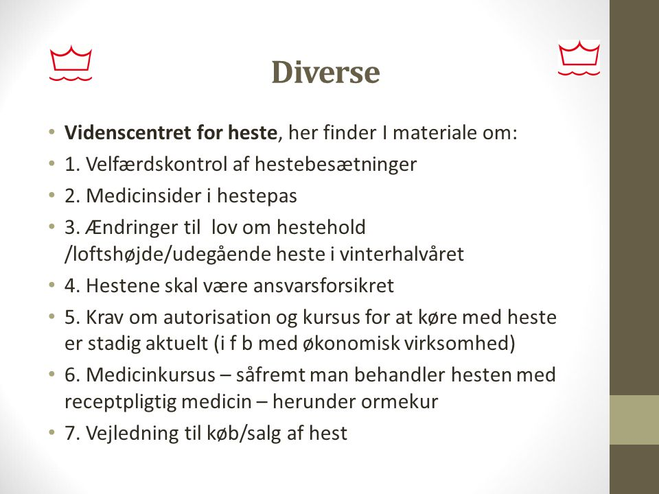 Diverse Videnscentret for heste, her finder I materiale om:
