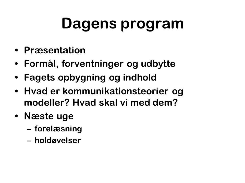 Dagens program Præsentation Formål, forventninger og udbytte