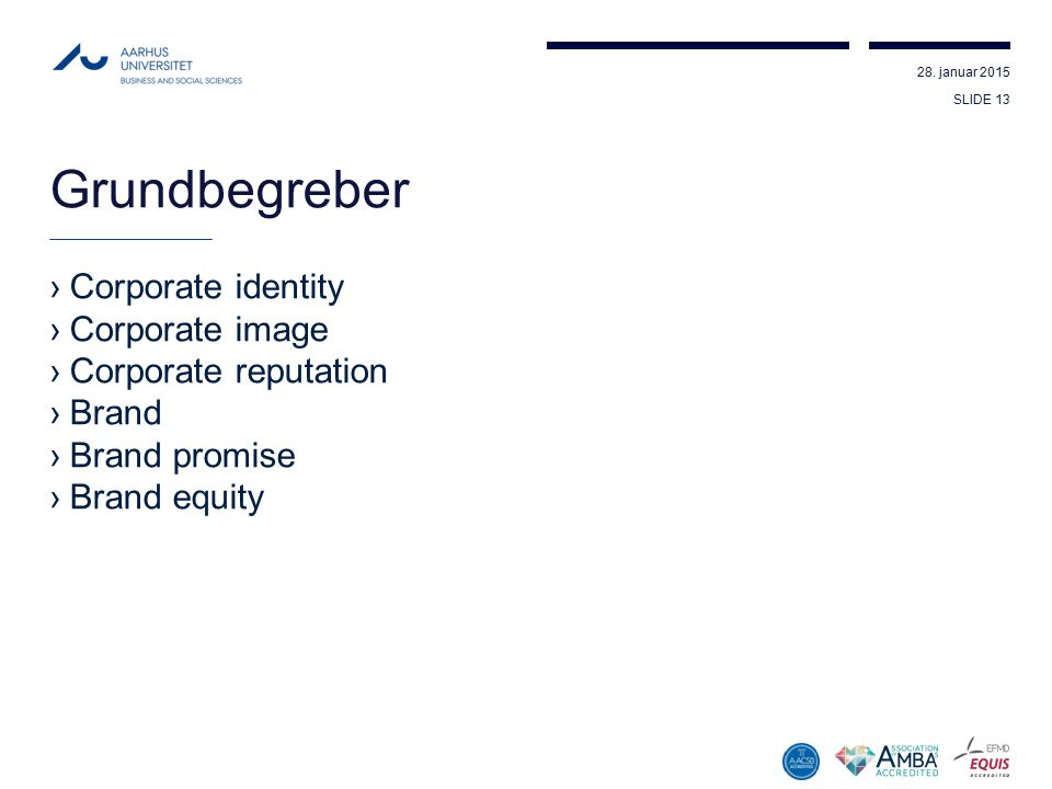 Grundbegreber Corporate identity Corporate image Corporate reputation