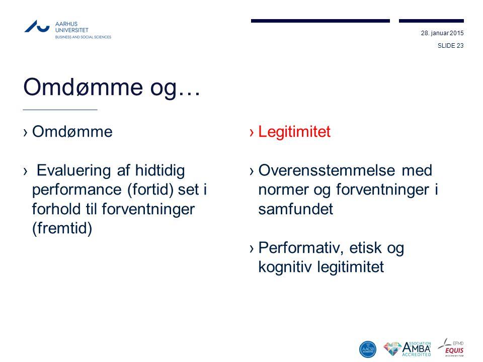 Omdømme og… Omdømme. Evaluering af hidtidig performance (fortid) set i forhold til forventninger (fremtid)