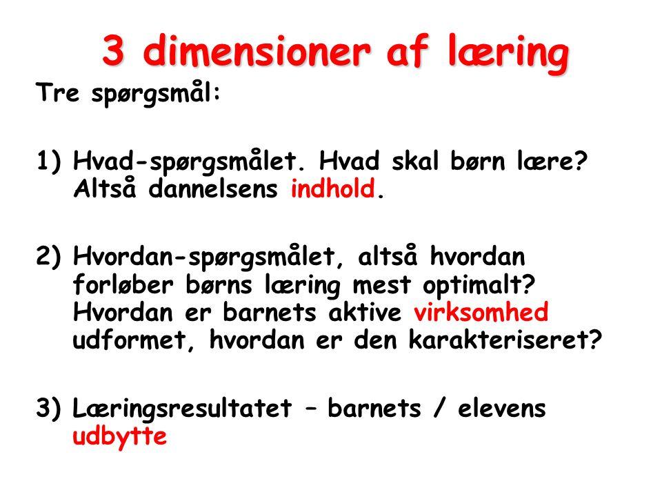 3 dimensioner af læring Tre spørgsmål: