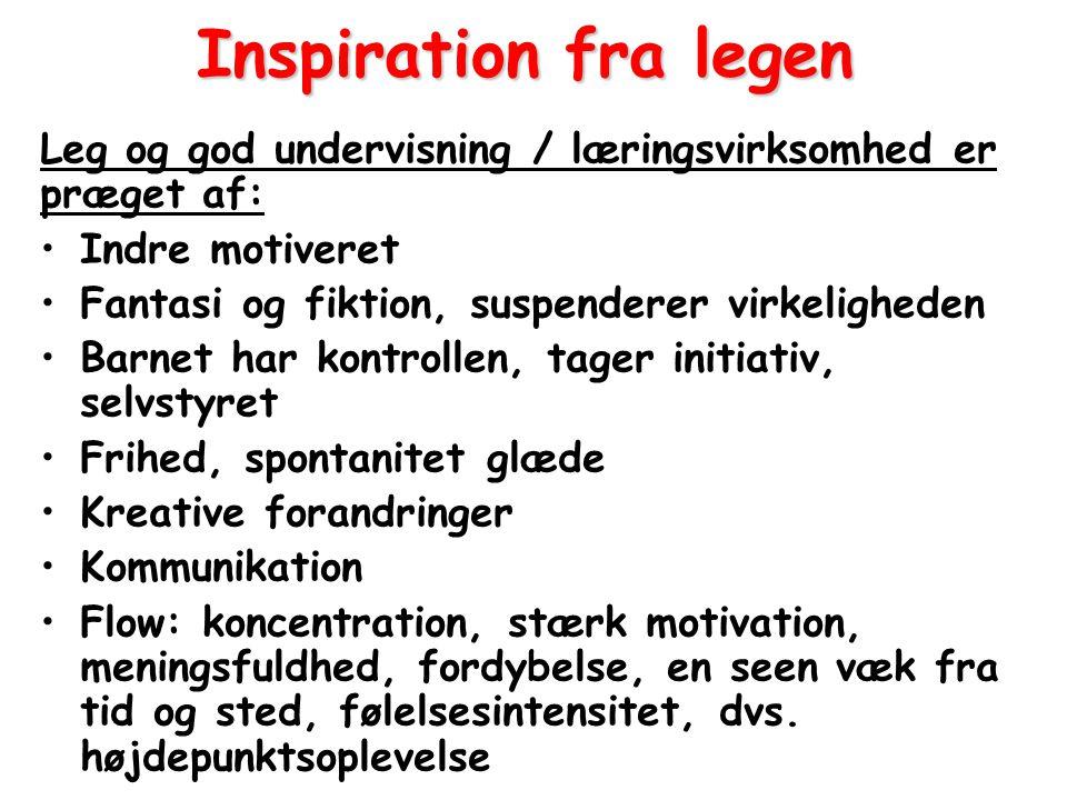 Inspiration fra legen Leg og god undervisning / læringsvirksomhed er præget af: Indre motiveret. Fantasi og fiktion, suspenderer virkeligheden.