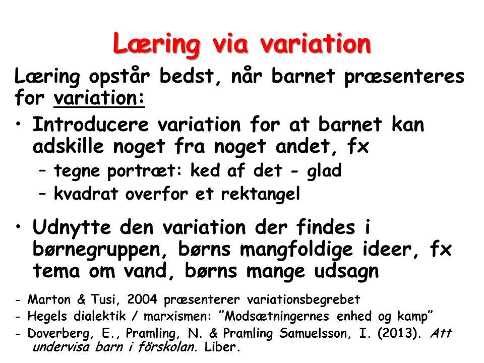 Læring via variation Læring opstår bedst, når barnet præsenteres for variation: