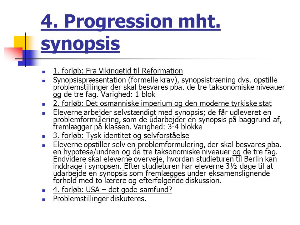 4. Progression mht. synopsis