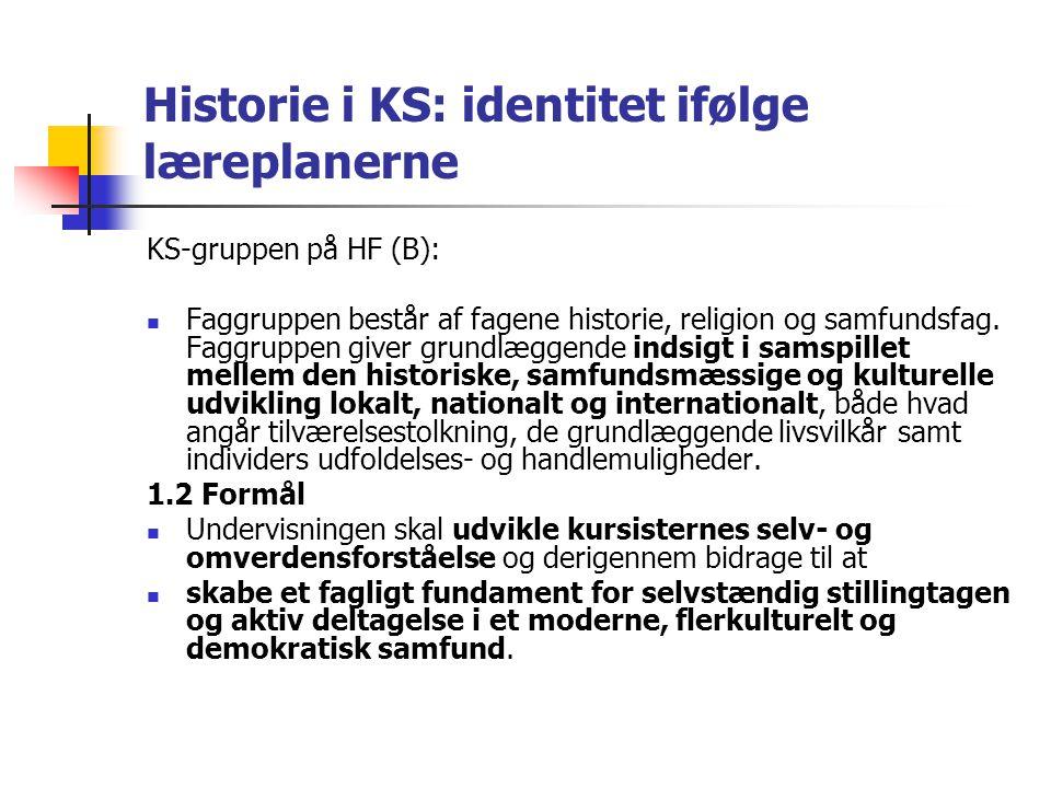 Historie i KS: identitet ifølge læreplanerne