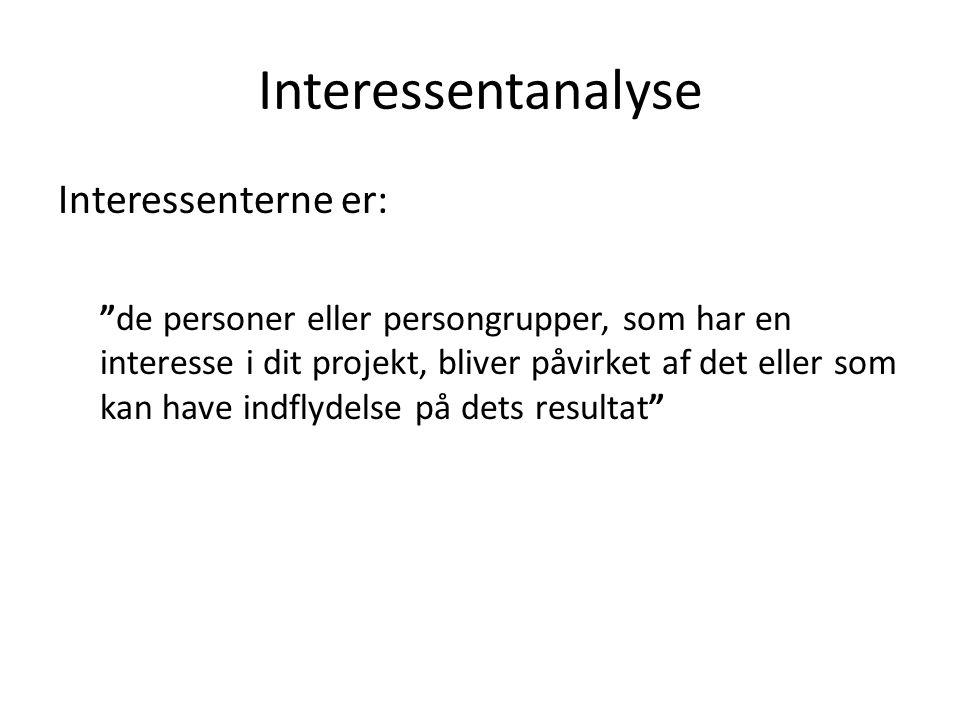 Interessentanalyse Interessenterne er: