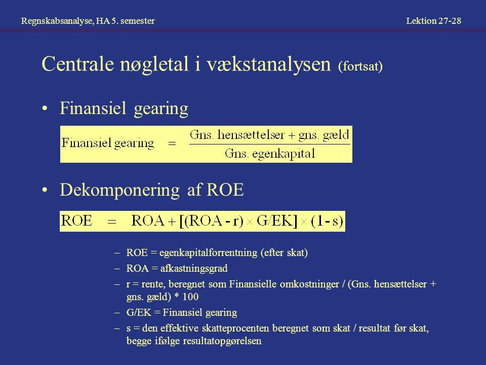 Centrale nøgletal i vækstanalysen (fortsat)
