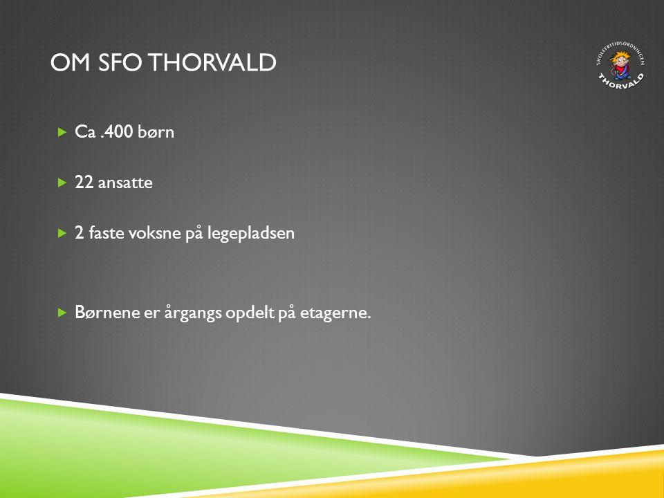 Om SFO Thorvald Ca .400 børn 22 ansatte 2 faste voksne på legepladsen