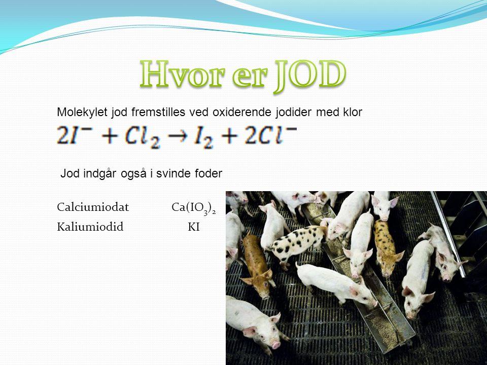 Hvor er JOD Molekylet jod fremstilles ved oxiderende jodider med klor