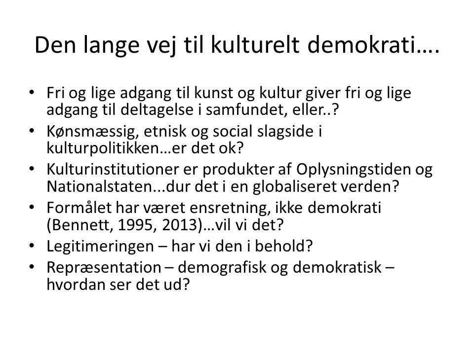 Den lange vej til kulturelt demokrati….