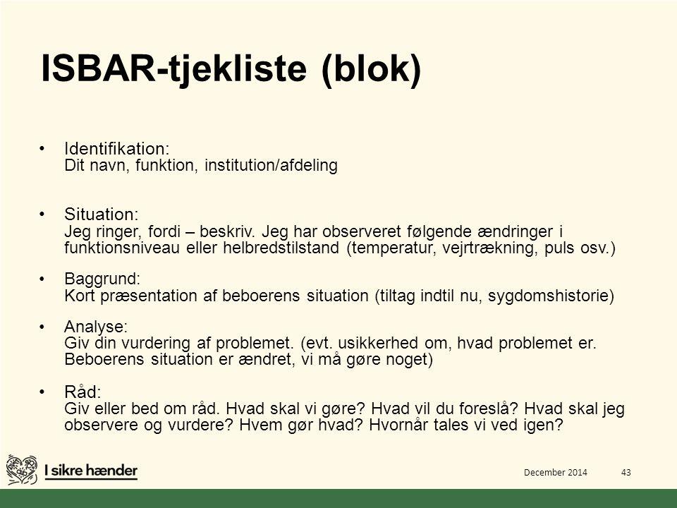ISBAR-tjekliste (blok)